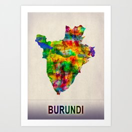 Burundi Map in Watercolor Art Print