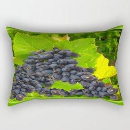 Decorative Dark Purple Wine Grapes Green Leaves Art. Rectangular Pillow