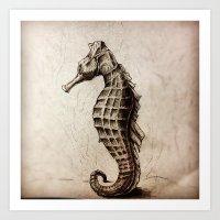 seahorse Art Prints featuring Seahorse by Werk of Art