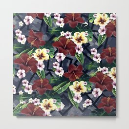 Geometric and Flowers Metal Print
