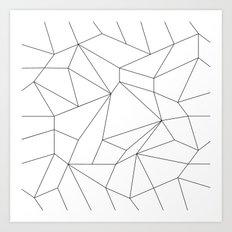 Mountain Grid Gradient Black Art Print