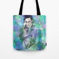 tom hiddleston Tote Bags featuring Tom Hiddleston Watercolor (mock) by Angi