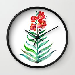 Blooming Orchid – Red & Green Palette Wall Clock