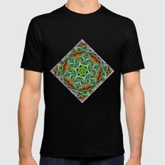 Feathered texture mandala in green and brown MEDIUM Mens Fitted Tee Black