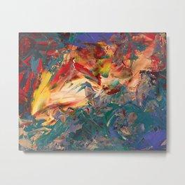 Bird in Expressionist Garden of Fire Metal Print