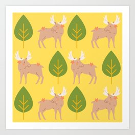 Autumn - A Forest With Moose's Art Print