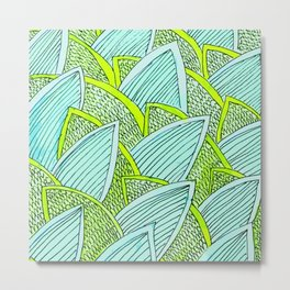 Sea of Leaves - Blue and Green Leaf pattern Metal Print