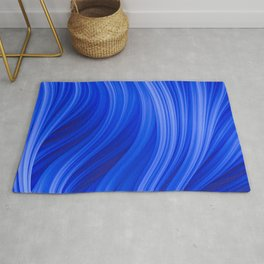 Flow Strand. Endless Blue. Abstract Art Rug