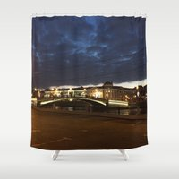 moscow Shower Curtains featuring Night Moscow. by Mikhail Zhirnov