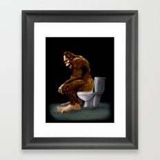 Bigfoot breaks into some Dude's Cabin and Totally takes a fat Dump in his toilet Framed Art Print