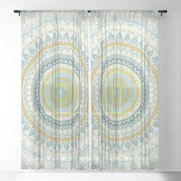 Light Yellow Aqua Mandala Sheer Curtain