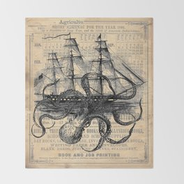 Octopus Kraken attacking Ship Antique Almanac Paper Decke
