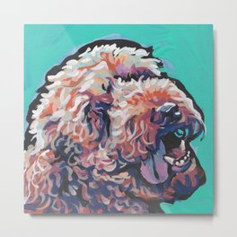 Labradoodle Doodle Dog Portrait bright colorful Pop Art Paintin by LEA Metal Print