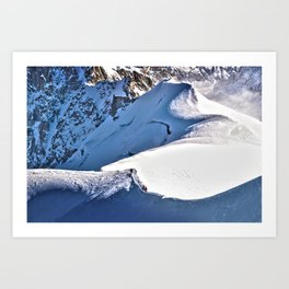 Mont Blanc, hikers, France. Art Print
