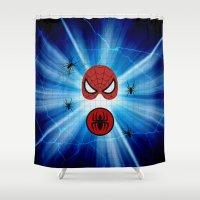 spider man Shower Curtains featuring Spider Man by haroulita