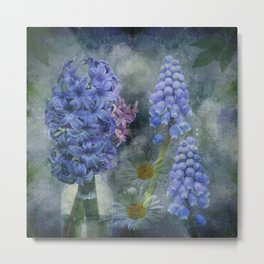 Painterly spring flowers on a grunge background Metal Print
