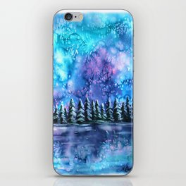 Watercolor Winter Pines under the Northern Lights iPhone Skin