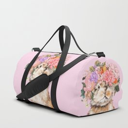 Rabbit with Flowers Crown Duffle Bag