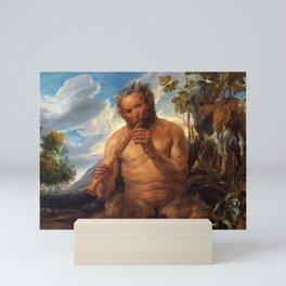 "Jacob Jordaens ""Satyr Playing the Pipe (Jupiter's Childhood)"" Mini Art Print"