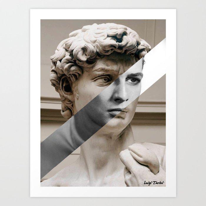 5873b90735 Michelangelo's David & Marlon Brando Art Print by luigitarinigraphicartist    Society6