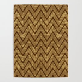Faux Suede Chocolate Brown Chevron Pattern Poster