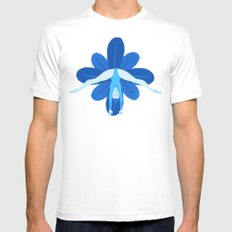 Blue Mens Fitted Tee MEDIUM White