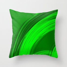 Semicircular sections of green metal with rays of light and strings. Throw Pillow