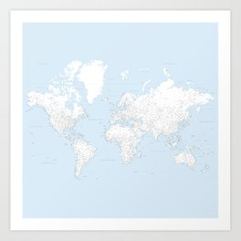World map, highly detailed in light blue and white, square Art Print