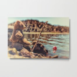 My Fishing Buddy a little teddy bear Metal Print