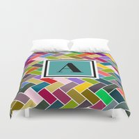 monogram Duvet Covers featuring  A Monogram by mailboxdisco