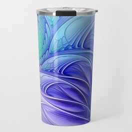centered, turquoise and blue Travel Mug