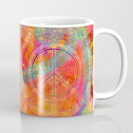 Hippie Chic Paisley Flowers Peace Coffee Mug