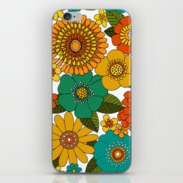 Even groovier flowers Turquoise iPhone Skin