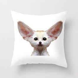 Geometrical Polygon Exotic Pet Fennec Fox Throw Pillow
