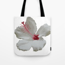 Pure White Hibiscus Tropical Flower Tote Bag
