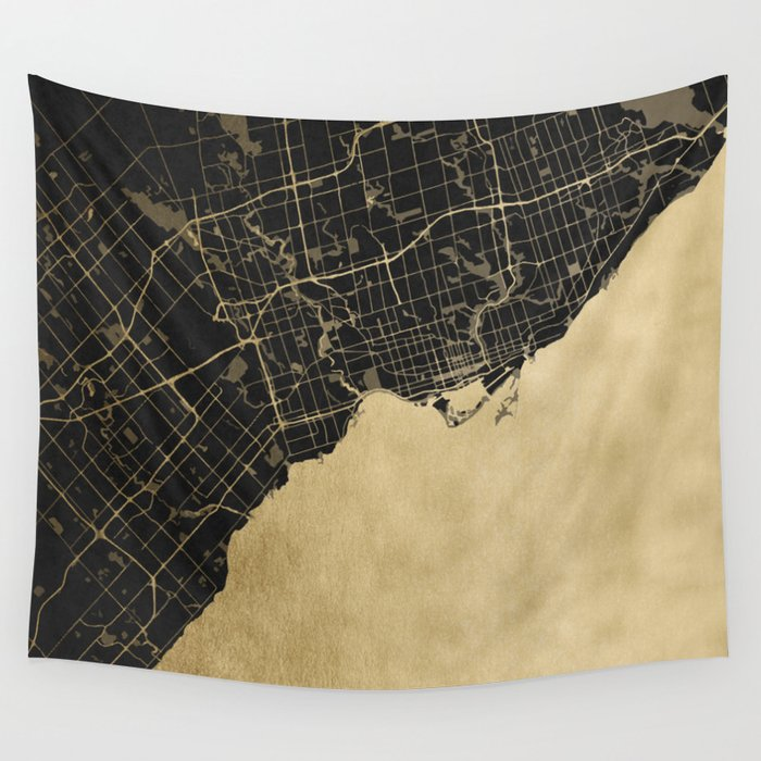 Toronto Gold and Black Street Map Wall Tapestry by mapmaker | Society6
