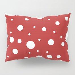Mixed Polka Dots - White on Firebrick Red Pillow Sham