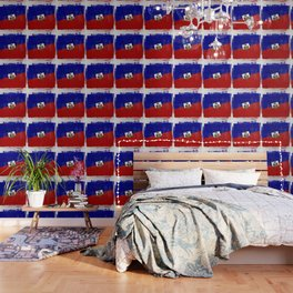 Haitian Distressed Halftone Denim Flag Wallpaper