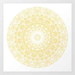 White Lace Mandala on Sunshine Yellow Background Art Print