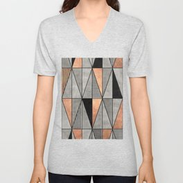 Concrete and Copper Triangles Unisex V-Neck