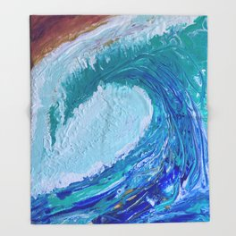 """Pacific Wave"" by Laurie Ann Hunter Throw Blanket"