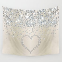 Glitter Heart And Diamonds On Smooth Blush Wall Tapestry