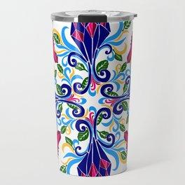 Moroccan Rose Tile Pattern Travel Mug