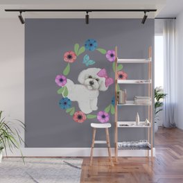 Bichon Frise gift, Dog with butterfly and flowers Wall Mural
