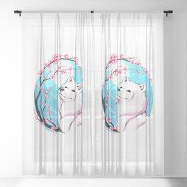 Samoyed Sakura Sheer Curtain