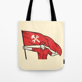 worker holding a flag - industry poster (design for labor day) Tote Bag
