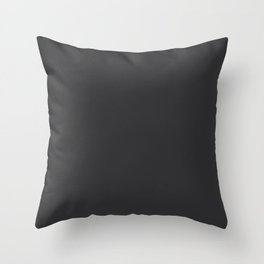 Dark Charcoal Grey Solid Color Pairs To Sherwin Williams 2021 Trending Color Tricorn Black SW 6258 Throw Pillow