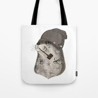 otter Tote Bags featuring OTTER by Thiago Bianchini