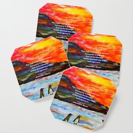 Inspirational Finding Your Love Quote With Penguins Painting Coaster