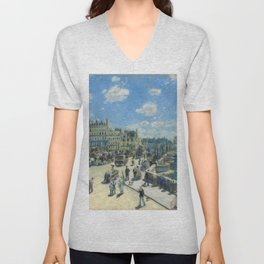 Pont Neuf Paris Painting by Auguste Renoir Unisex V-Neck